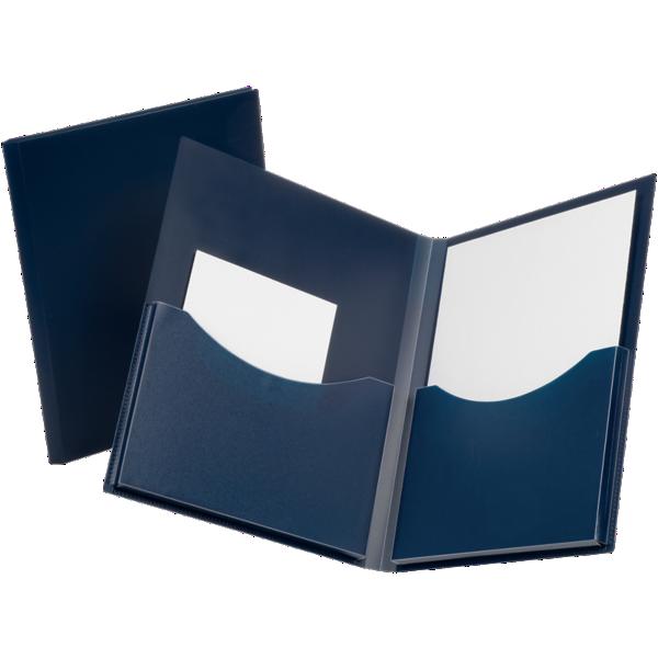 Oxford® Double Stuff Poly Folders Navy