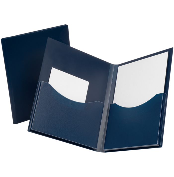 Oxford® Double Stuff Poly Folders Navy