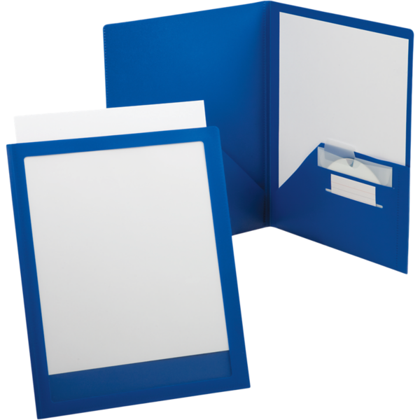 Oxford® ViewFolio Twin Pocket Poly Folders Blue