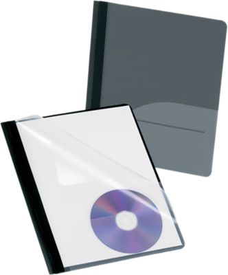 Oxford® Clear Front Report Covers with Fasteners and CD Pocket Black