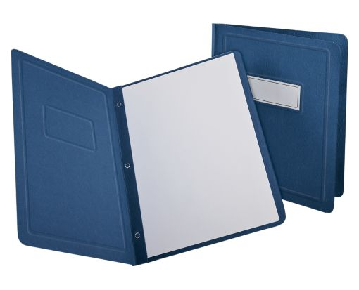 Oxford® Panel & Border Report Covers with Fasteners Dark Blue - Panel & Border Front