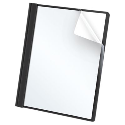 Oxford® Clear Front Report Covers with Fasteners Black - Clear Front