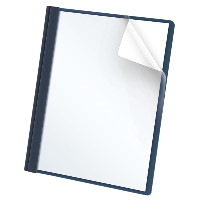 Oxford® Clear Front Report Covers with Fasteners Dark Blue - Clear Front