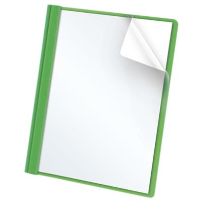 Oxford® Clear Front Report Covers with Fasteners Green - Clear Front