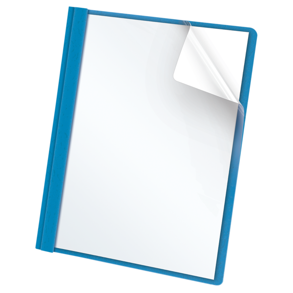 Oxford® Clear Front Report Covers with Fasteners Light Blue - Clear Front