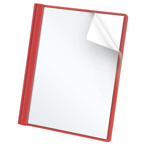 Oxford® Clear Front Report Covers with Fasteners Red - Clear Front