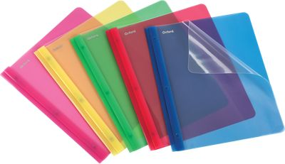 Oxford® Clear Front Poly Report Covers with Fasteners Translucent