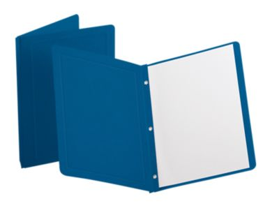 Oxford® Panel & Border Report Covers with Fasteners Blue - Panel & Border Front
