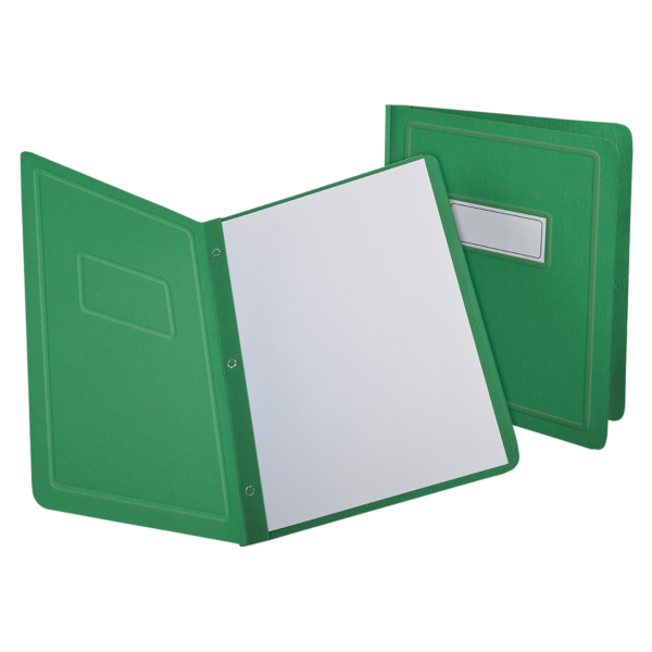 Oxford® Panel & Border Report Covers with Fasteners Green - Panel & Border Front