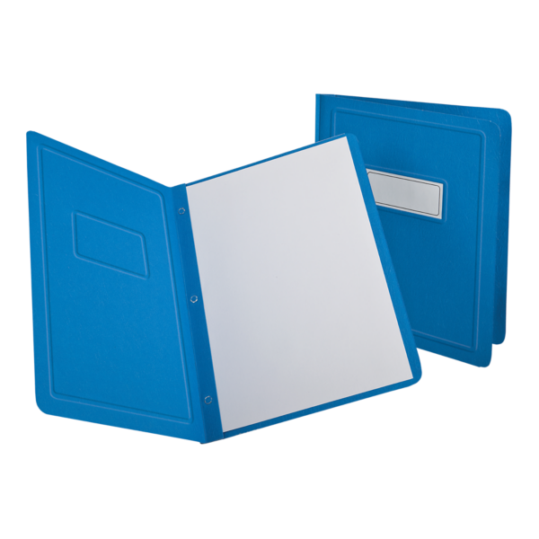 Oxford® Panel & Border Report Covers with Fasteners Light Blue - Panel & Border Front