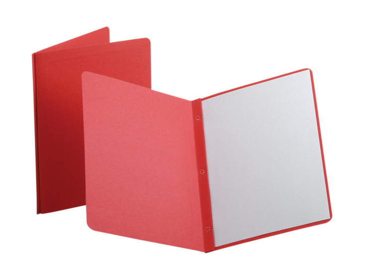 Oxford® Panel & Border Report Covers with Fasteners Red - Panel & Border Front