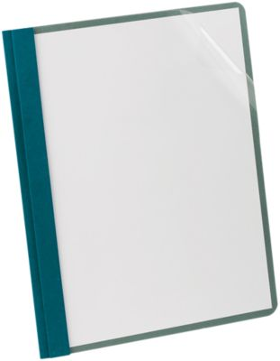 Oxford® Earthwise Recycled Clear Front Report Covers with Fasteners Blue - 100% Recycled