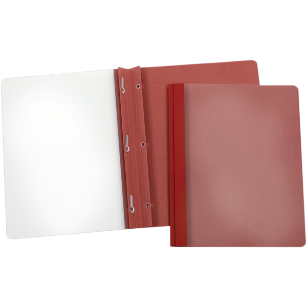 Oxford® Earthwise Recycled Clear Front Report Covers with Fasteners Red - 100% Recycled