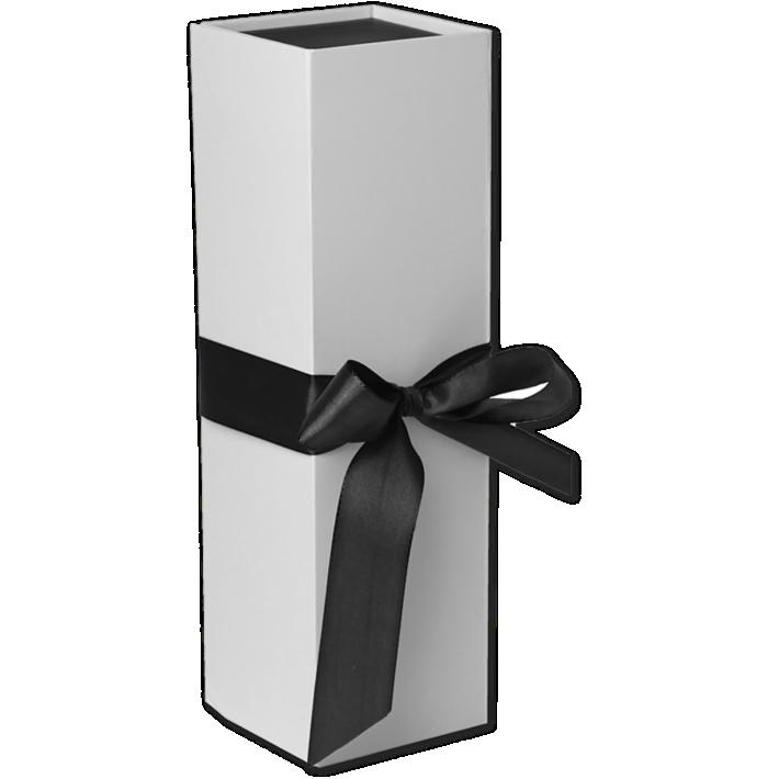 Ribbon Tie Bottle Box (4 x 13 1/2 x 4) Sophisticate White