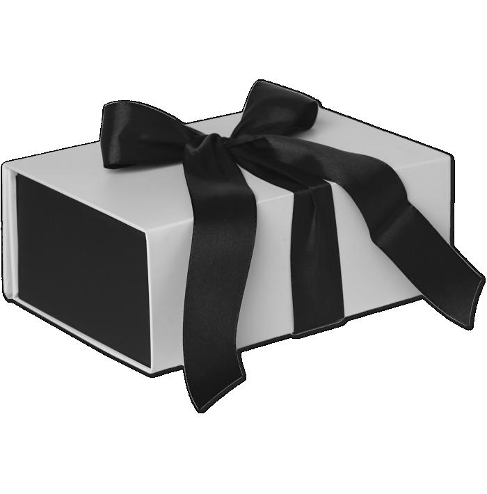 Small Ribbon Tie Small Box (7 x 2 3/4 x 4) Sophisticate White