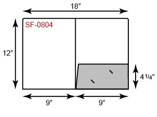 "9"" x 12"" Presentation Folders - Standard One Pocket (Right) w/ Rounded Corner"