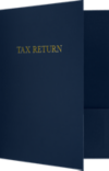 9 x 12 Presentation Folders - Standard Two Pocket w/ Gold Foil Tax Return Nautical Blue Linen
