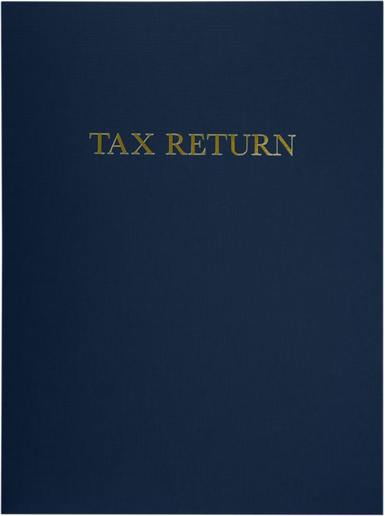 9 x 12 Presentation Folders - Standard Two Pocket w/ Gold Foil Tax Return Dark Blue Linen