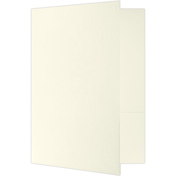 9 x 12 Presentation Folders - Standard Two Pocket Ivory White Linen