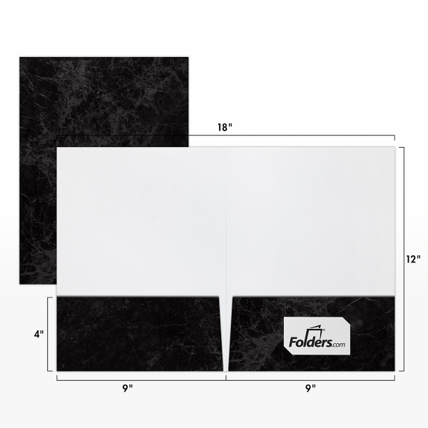 9 x 12 Presentation Folders - Standard Two Pocket Black Marblecoat