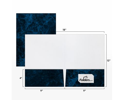 9 x 12 Presentation Folders - Standard Two Pocket Blue Marblecoat
