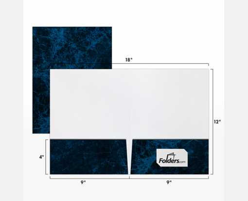 9 x 12 Presentation Folders - Standard Two Pocket Dark Blue Marble