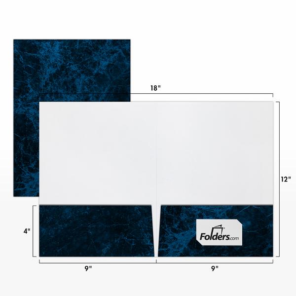 9 x 12 Presentation Folders - Standard Two Pocket Blue Marblecoat