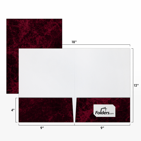 9 x 12 Presentation Folders - Standard Two Pocket Burgundy Marblecoat