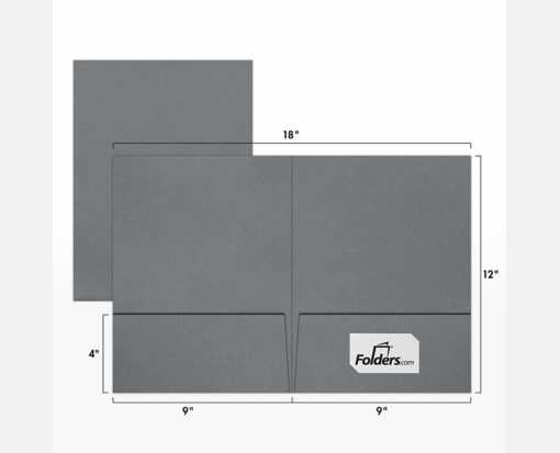 9 x 12 Presentation Folders Sterling Gray Linen w/ Front Card Slits