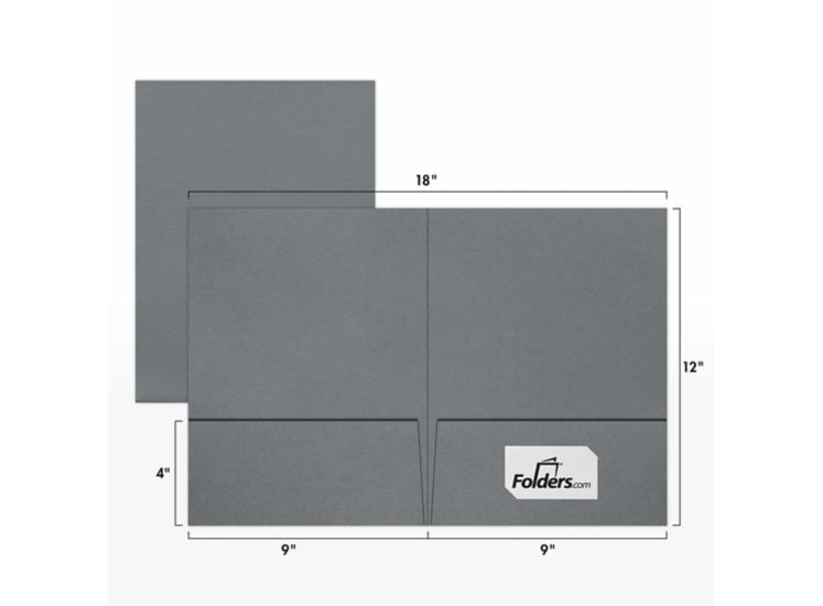 9 x 12 Presentation Folders - Standard Two Pocket Sterling Gray Linen