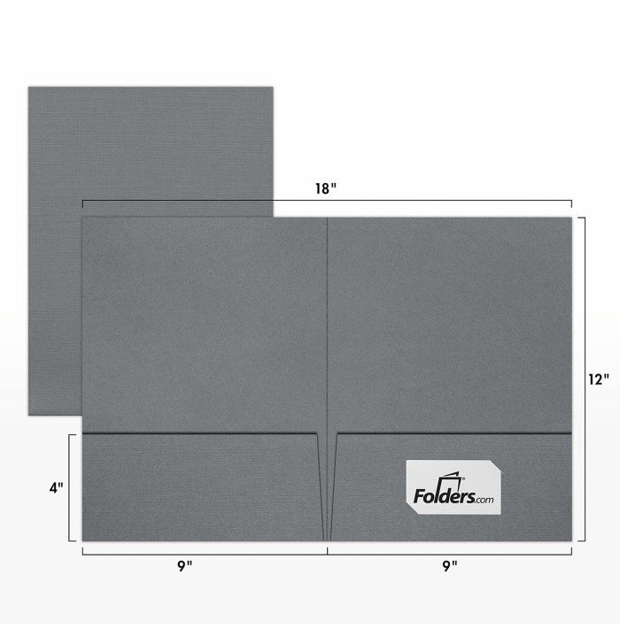 9 x 12 Presentation Folders Sterling Gray Linen w/ Front Card Slits