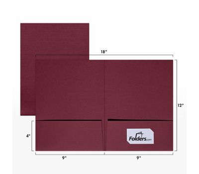 9 x 12 Presentation Folders - Standard Two Pocket Burgundy Linen