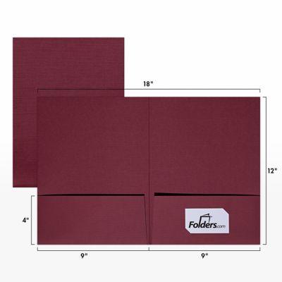 9 x 12 Presentation Folders - Standard Two Pocket Burgundy Linen