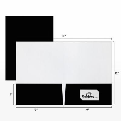 9 x 12 Presentation Folders - Standard Two Pocket Black Gloss