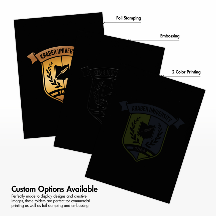 9 x 12 Presentation Folders - Standard Two Pocket Black Gloss