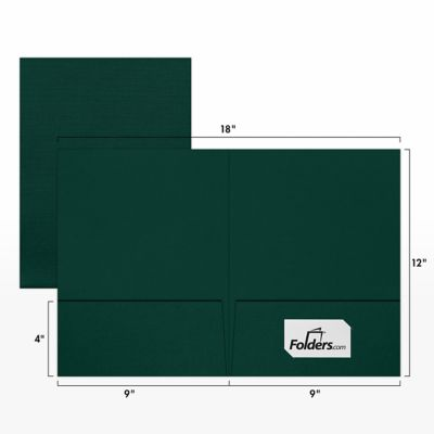 9 x 12 Presentation Folders - Standard Two Pocket Green Linen