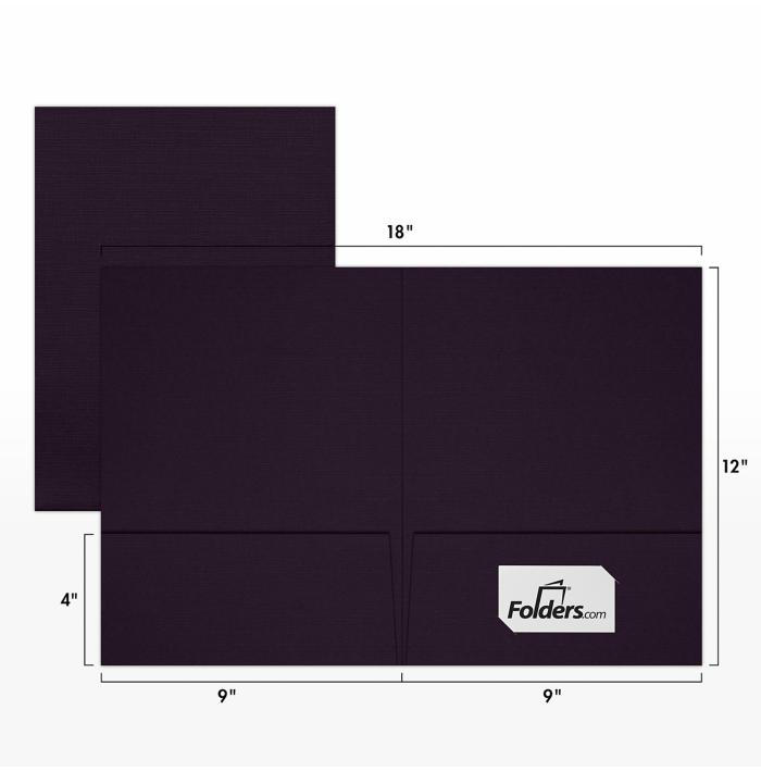 9 x 12 Presentation Folders - Standard Two Pocket Dark Purple Linen