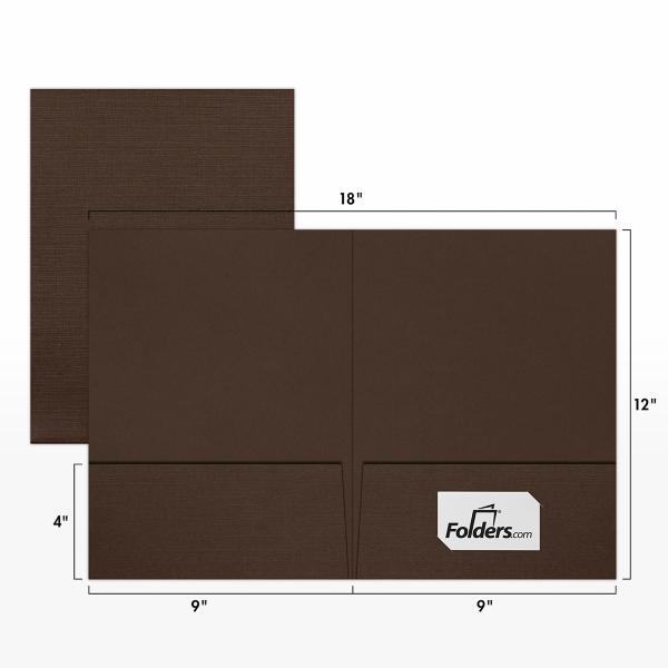 9 x 12 Presentation Folders - Standard Two Pocket Espresso Linen