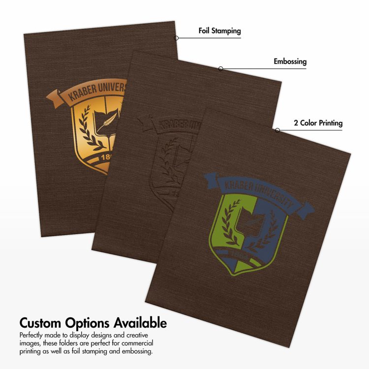 9 x 12 Presentation Folders - Standard Two Pocket Dark Espresso Brown