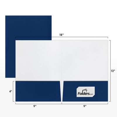 "9 x 12 Presentation Folders in Navy Blue Gloss with a standard two pocket design are perfect for holding standard letter size 8 1/2"" x 11"" paper, documents, print media, brochures, stepped inserts and other professional uses. The two interior pockets measure 4"" in height and the right pocket features card slits to securely hold and display standard size business cards (3 1/2"" x 2""). Both pockets are also die-cut in a v-split style to prevent buckling when opening and closing the covers. This folder is created from thick, durable 14pt. cover stock in a deep, classic navy blue color, with an ultra smooth and high-shine glossy finish. The square corners of this standard size presentation folder were expertly die-cut for a clean, professional look."