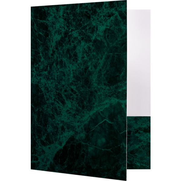 9 x 12 Presentation Folders - Standard Two Pocket Green Marblecoat