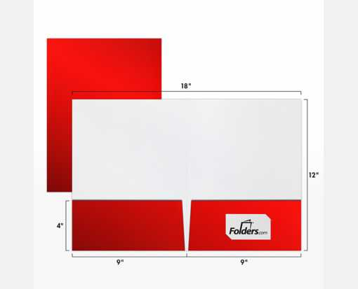 9 x 12 Presentation Folders - Standard Two Pocket Red Gloss