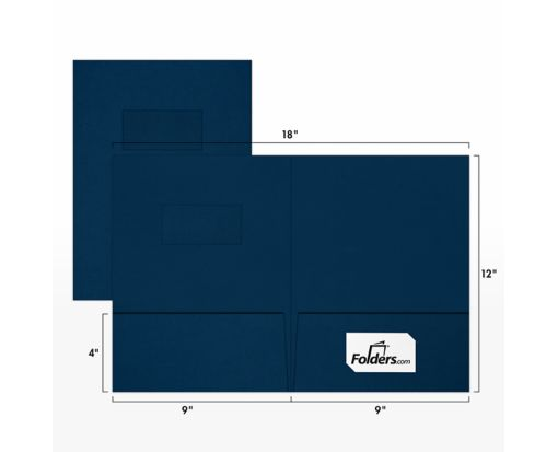 9 x 12 Presentation Folders - Standard Two Pocket w/ Front Cover Window Dark Blue Linen