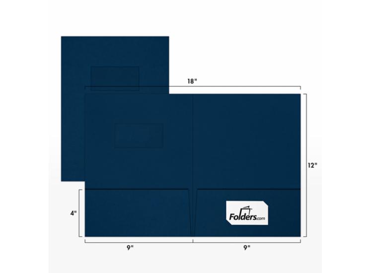 9 x 12 Presentation Folders - Standard Two Pocket w/ Front Cover Window Dark Blue Linen