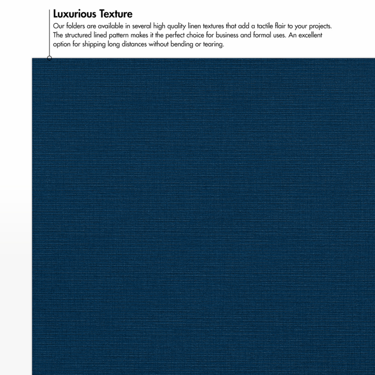 9 x 12 Presentation Folders - Standard Two Pocket w/ Front Cover Window Nautical Blue Linen