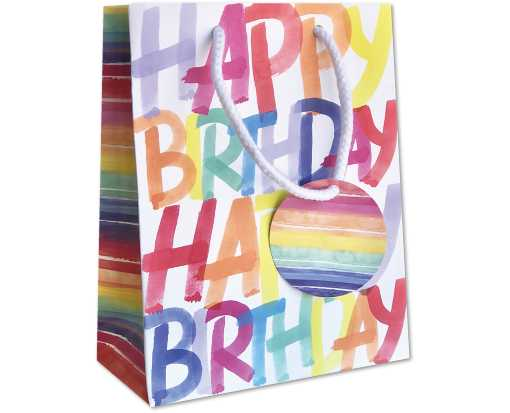 Small (7 1/2 x 6 x 3) Gift Bag Rainbow Birthday