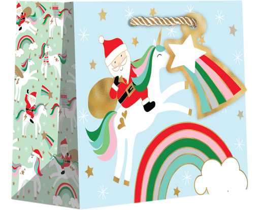 Small (7 1/2 x 6 x 3) Gift Bag Merry Unicorns