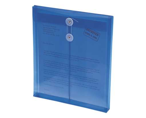 9 3/4 x 11 5/8 Poly Button & String Open End Envelopes Blue