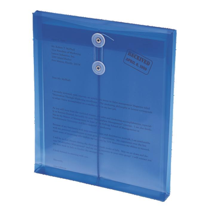 9 3/4 x 11 5/8 Poly Button & String Open End Envelopes Blue