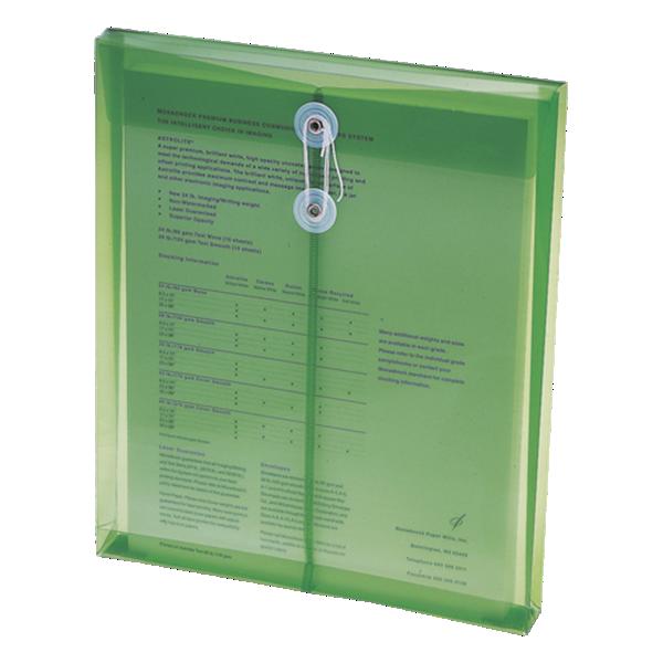 9 3/4 x 11 5/8 Poly Button & String Open End Envelopes Green